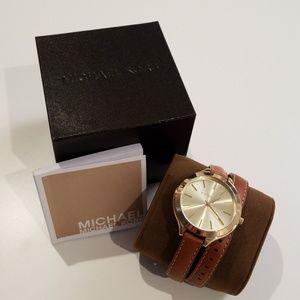 Michael Kors Slim Runway Double Leather Watch